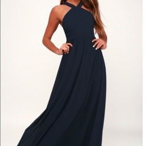 Lulus Navy Blue Maxi Full Length Dress Sz S